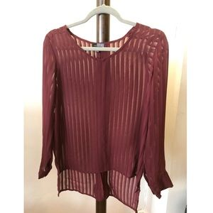 The Limited - Burgundy Long Sleeves Blouse/Shirt